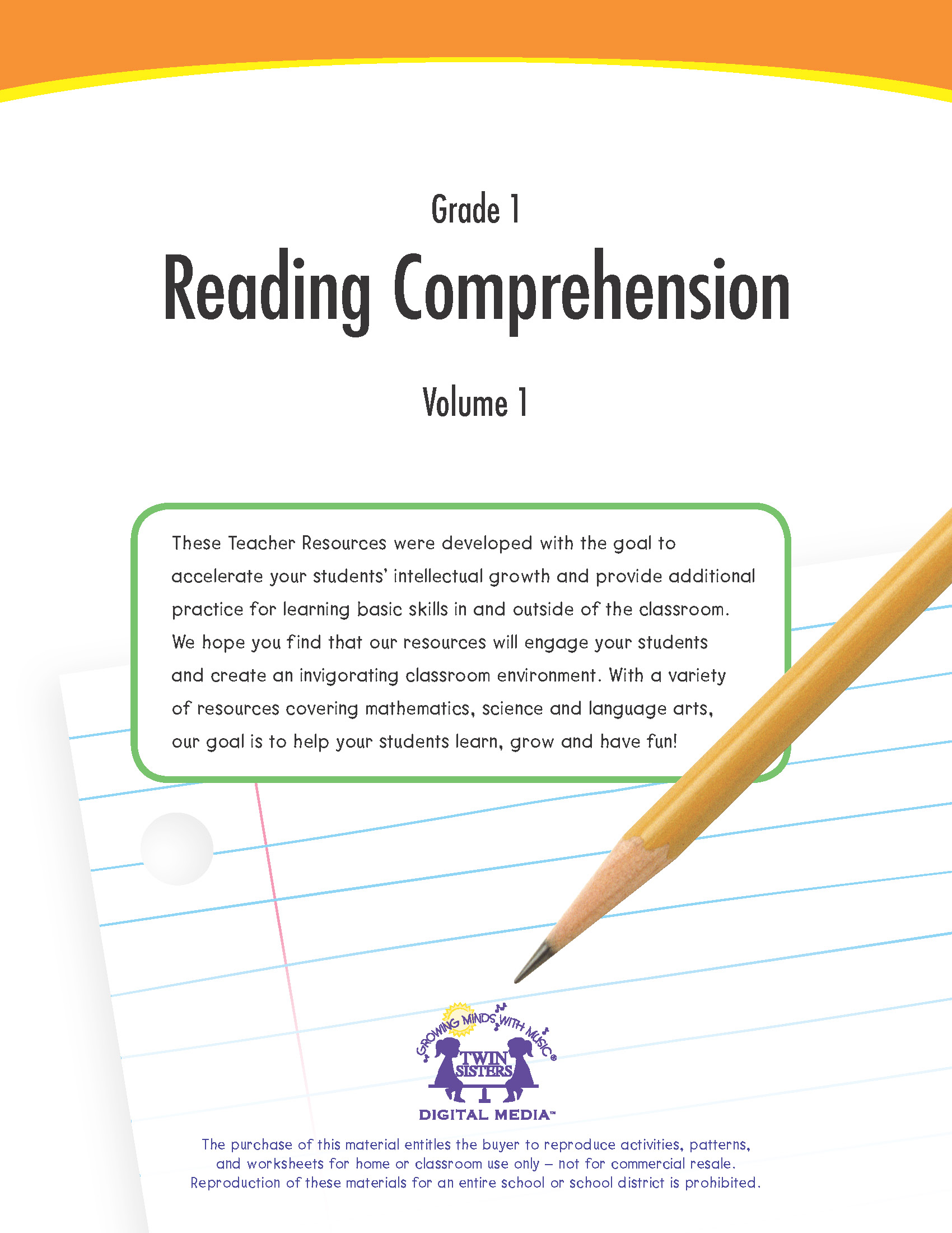 - Grade 1: Reading Comprehension Volume 1 Twin Sisters