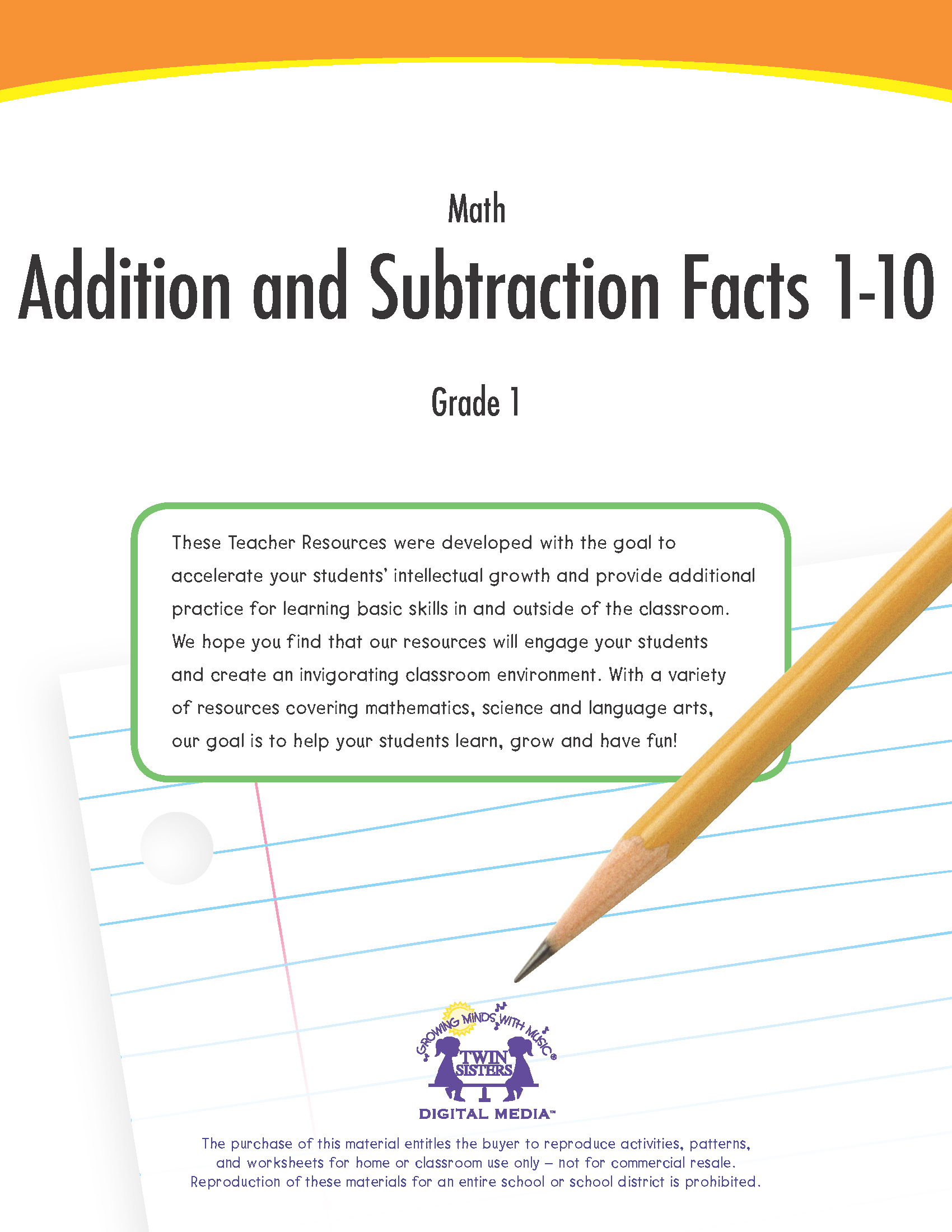 Math Grade 1: Addition and Subtraction Facts 1-10 | Twin Sisters