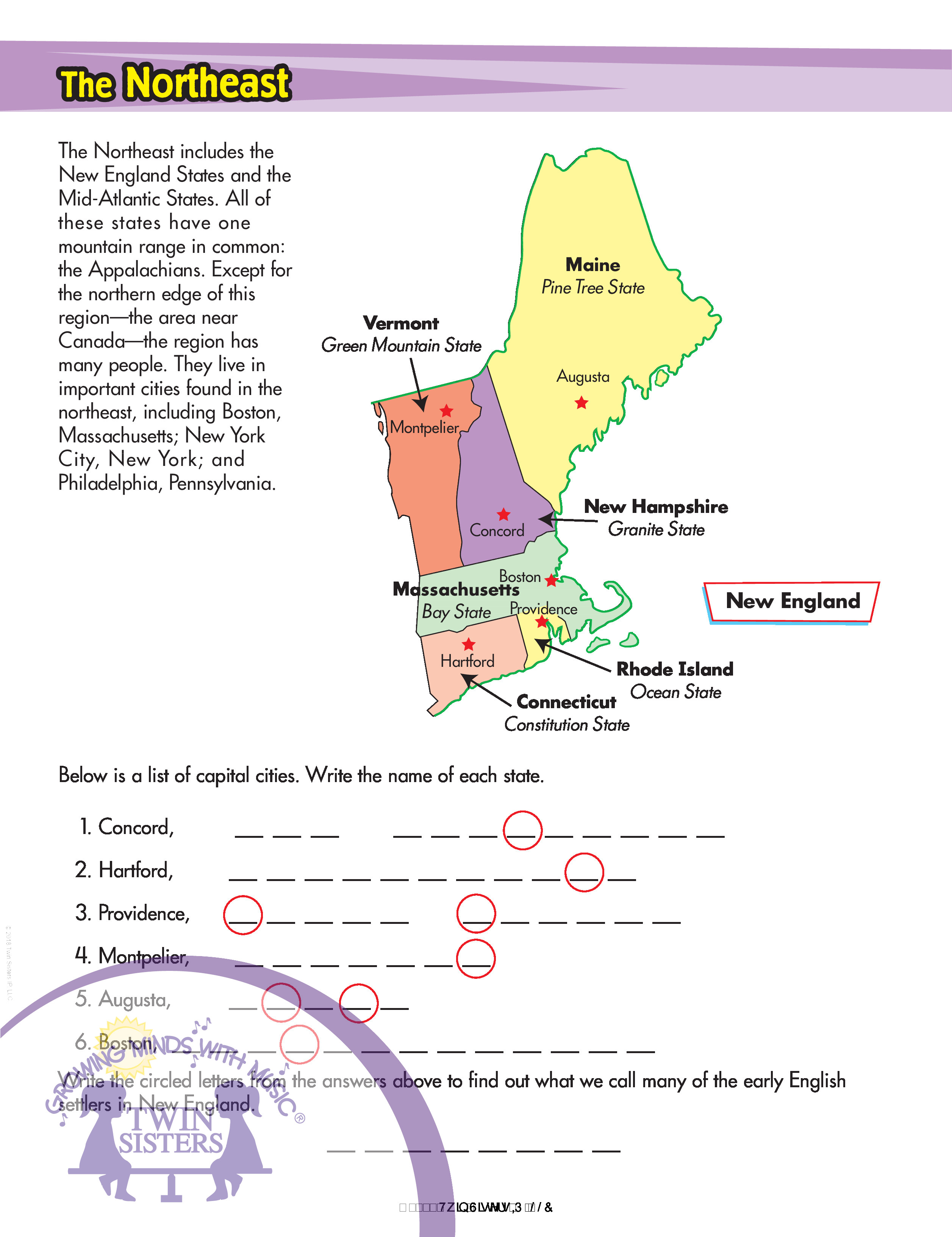 United States Geography Worksheets Twin Sisters